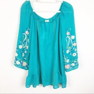 Fig & Flower Tops - Anthropologie Fig & Flower  Floral Embroidery Top